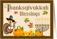 Thanksgivukkah Blessings - Turkey Pilgrim, Pumpkins & Menorah card