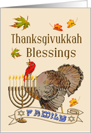 Thanksgivukkah Blessings - Turkey, Fall Leaves, Family Banner & Menorah card