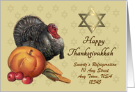 Custom Front Thanksgivukkah Card - Turkey & Star of David card