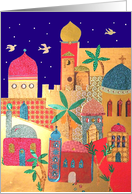 Colorful Jerusalem city of Gold Rosh Hashanah Card