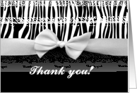 Zebra stripe with ribbon graphic - Thank you for coming to my party card