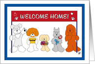 Five dogs holding a welcome home banner card