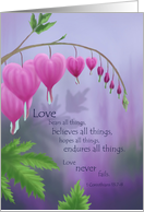 Love Never Fails Wedding Bleeding Hearts card