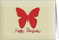 Happy Birthday Glitter butterfly - For Girl card