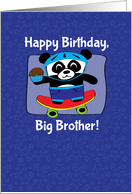 Birthday for Big Brother - Little Skateboarder Panda Bear (Blue/Stars) card