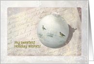 Victorian Christmas - Geese on Christmas ornament - Custom text card