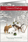 Aunt & Uncle Fantasy Cats Snowscene Season's Greetings card