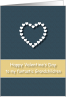Fantastic Grandchildren Blue Tan Heart Valentine's Day card