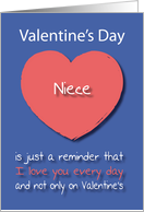 Niece I love you Every Day Pink Heart Valentine's Day card