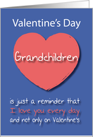 Grandchildren I love you Every Day Pink Heart Valentine's Day card