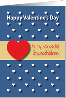 Wonderful Grandchildren blue hearts Valentines Day card