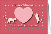 Cats Hearts Wonderful Grandma Red and Pink Happy Valentine card
