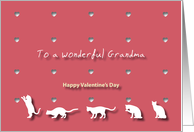 Cats Hearts Wonderful Grandma Valentine's Day card