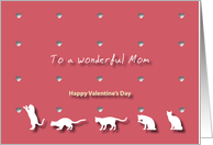 Cats Hearts Wonderful Mom Valentine's Day card