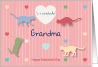 Cats Colored Hearts Wonderful Grandma Valentine's Day card