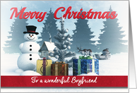 Christmas Snowman with Presents and Tree for Boyfriend card