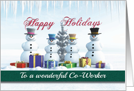 Happy Holidays Presents Snowmen and Tree for Co-Worker card