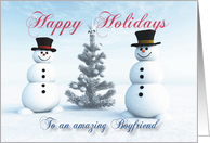 Snowmen and Christmas Tree for Boyfriend card