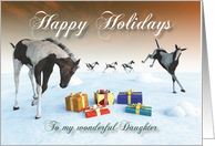 Painted Foal Horse Holidays Snowscene for Daughter card