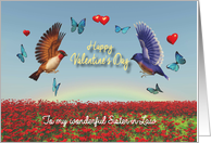 Valentine Birds Hearts Poppies and Rainbow for Sister-in-Law card