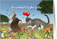 Daughter-in-Law Valentine with a cat and puppy dog card