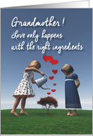Grandmother Girls giving the right ingredients to love Valentine card