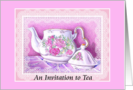 Still Life Teapot and Lace Tea Party Invitation card