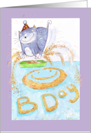 Cat kicking up kitty litter creating a fun birthday message. card