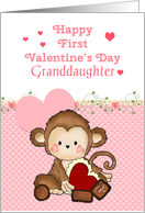 Granddaughter First Valentine's Day, Monkey card