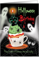 Halloween, Birthday - Cupcake with Cup Handle, Black Cat and Ghosts card