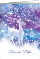 Christmas Across the Miles. Ice Sculpture style Reindeer in Snow. card