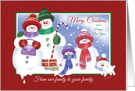 Christmas Family to Family. Cute Snowman Family with Snow Puppy. card