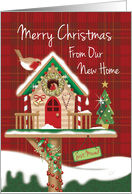 Christmas We've Moved. Cute Festive Birdhouse with Two Robins. card