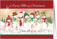 Merry Christmas From all of us. Seven Snowmen Carol Singing. card