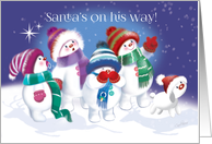 Christmas for Kids. Cute Snow Children and Puppy see Santa in the Sky. card