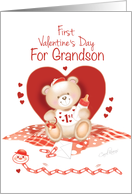 Grandson's First Valentine's Day -Teddy Sitting against Red Heart card