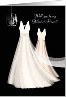 Maid of Honor Request - 2 Cream Dresses with Chandelier card