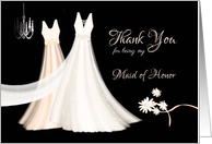 Maid of Honor Thank You - 2 Dresses, Flowers and Chandelier card