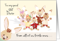 Doctors' Day - ENT Doctor - all of us - Bunny kids with ear bandages card