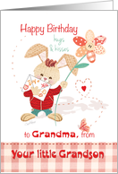 Birthday, Grandma from Grandson - Cute Bunny with Tall Flower card