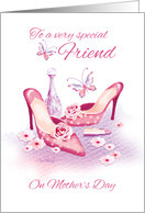 Friend, Mother's Day - Pink Shoes and Perfume card
