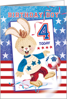 Birthday Boy, Age 4 - Soccer Bunny USA card