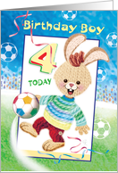 Birthday Boy, Age 4 - Soccer Bunny card