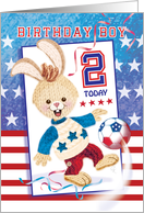 Birthday Boy, Age 2 - Soccer Bunny USA card
