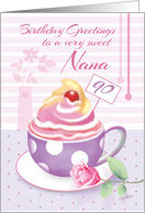 Nana, 90th Birthday - Lilac Cup of Cupcake card