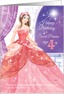 Princess, Activity, Birthday, Age 4 -Beautiful Princess in Ball Gown card