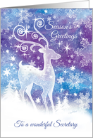 Season's Greetings, Secretary - Ice Sculpture style Reindeer in Snow card