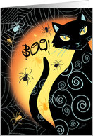 Halloween, Boo - Black Cat by Moon with Spiders and Cobwebs card
