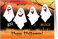 Halloween, Boo! - 4 Zany, Laughing Ghosts, Hanging From Trees card