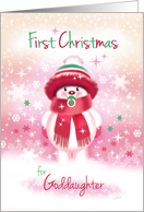 1st Christmas, Goddaughter - Cute Snow Baby sucking Pacifier card